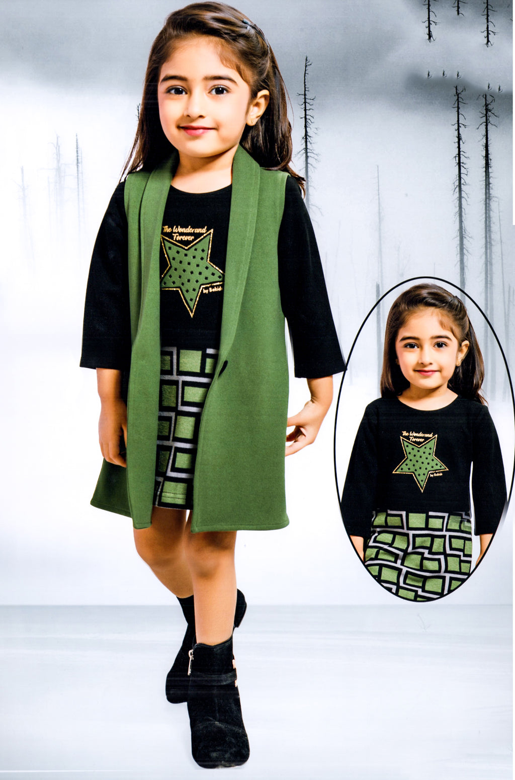 Be Kids Girls Partywear Western Wear (Green) By Indians Boutique