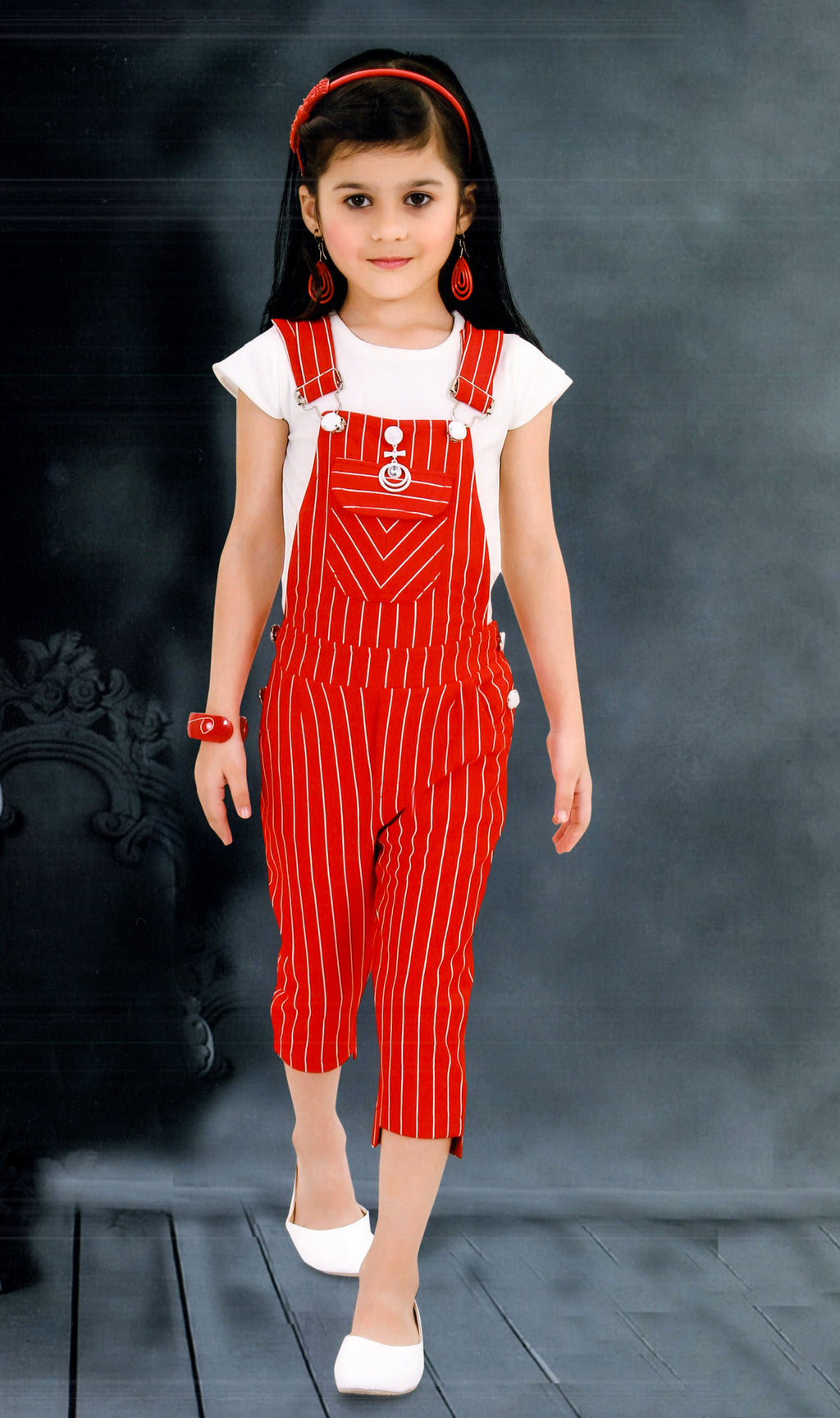 Zeelmil Girls Parywear Western Wear (Red) By Indians Boutique