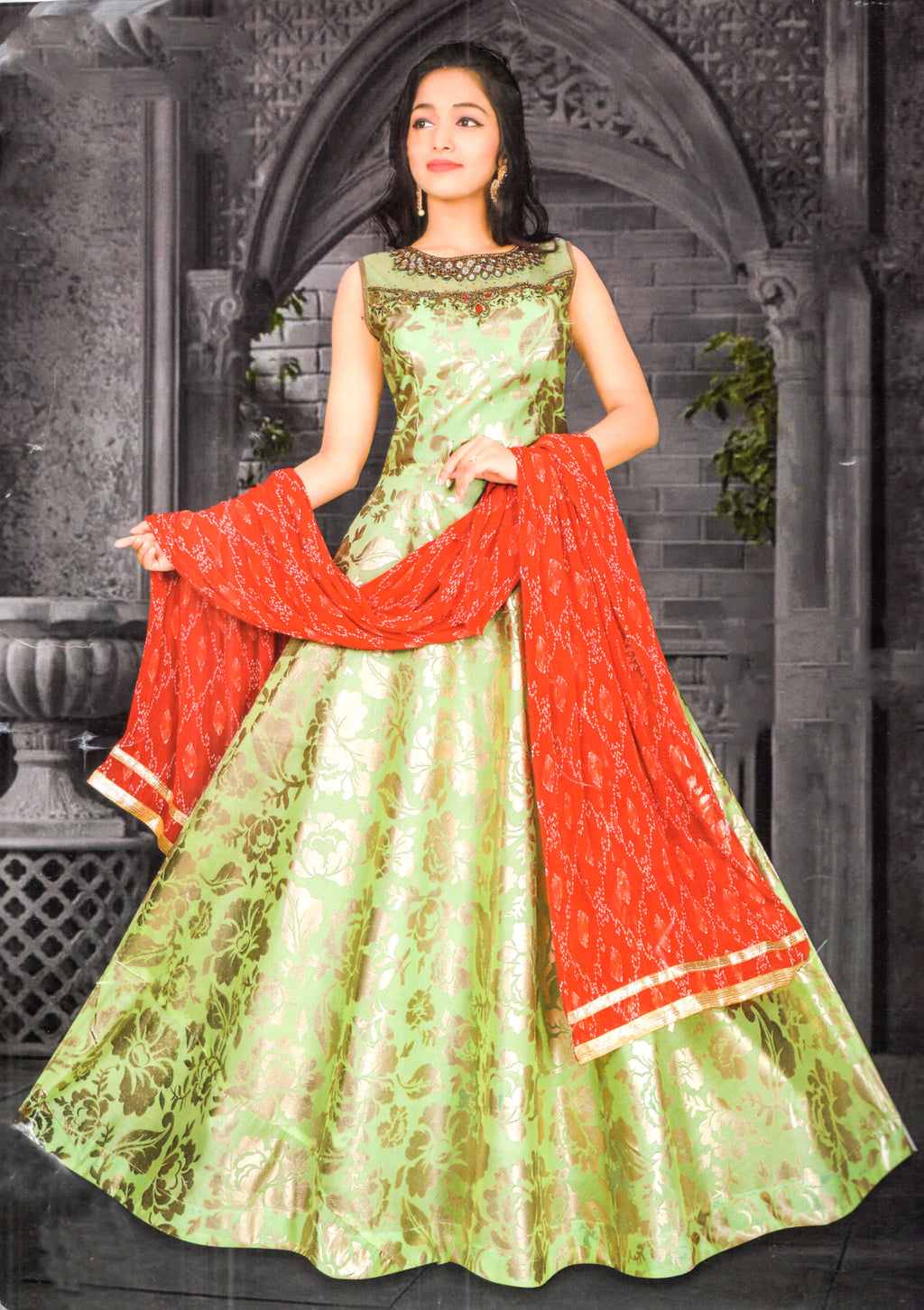 Indians Boutique Partywear Evening Gown (Green)
