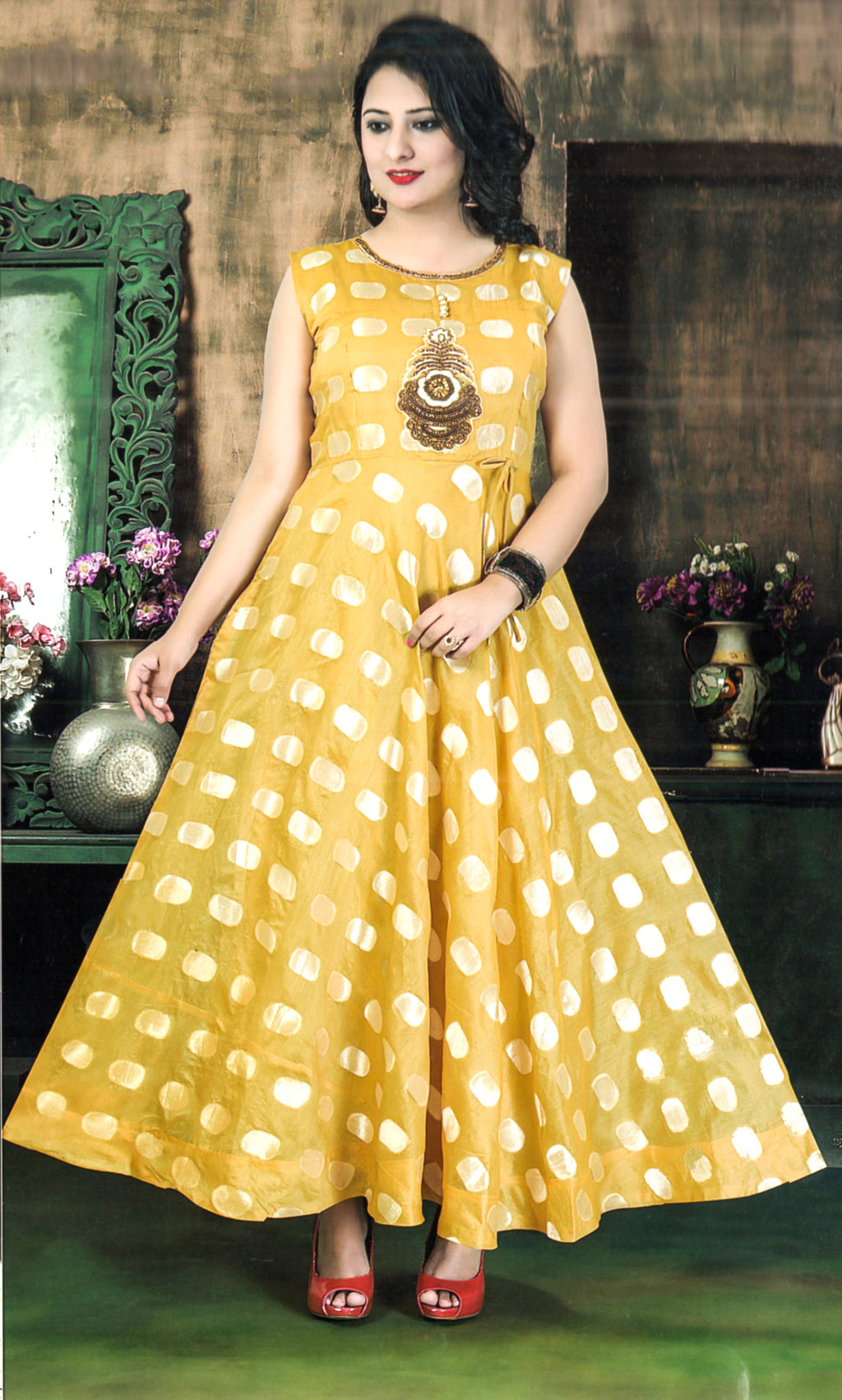 Indians Boutique Partywear Evening Gown (Gold)