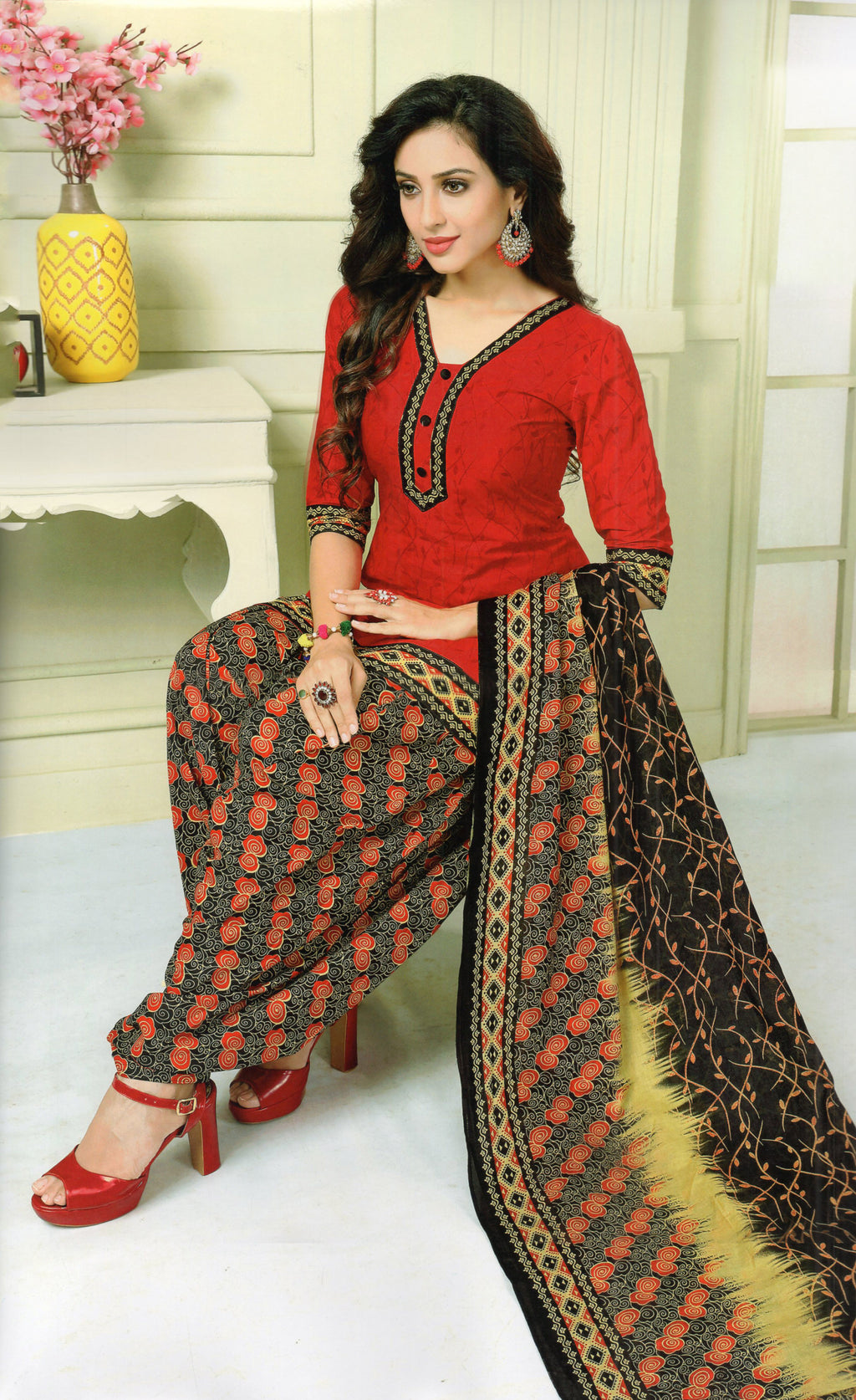 Shivani Pakhi Cotton Patiyala Suit Material (Red) By Indians Boutique