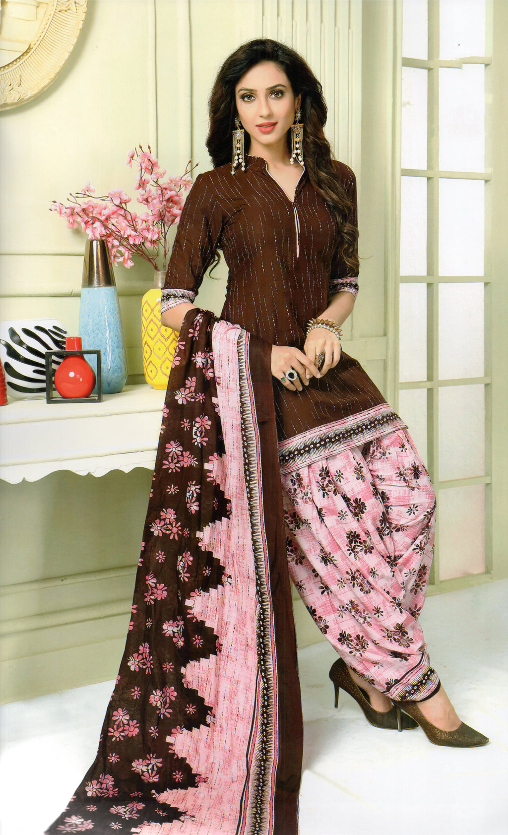 Shivani Pakhi Cotton Patiyala Suit Material (Brown) By Indians Boutique