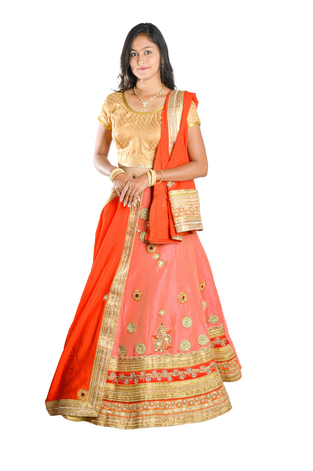 Indians Boutique Designer Semi-Stitched Silk Lehenga,Choli and Dupatta Set With Blouse Piece  (Pink)
