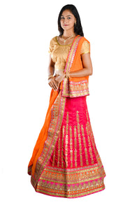 Indians Boutique Designer Semi-Stitched Silk Lehenga,Choli and Dupatta Set With Blouse Piece  (Orange)