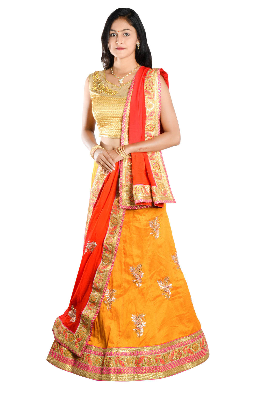 Indians Boutique Designer Semi-Stitched Silk Lehenga,Choli and Dupatta Set With Blouse Piece  (Yellow)