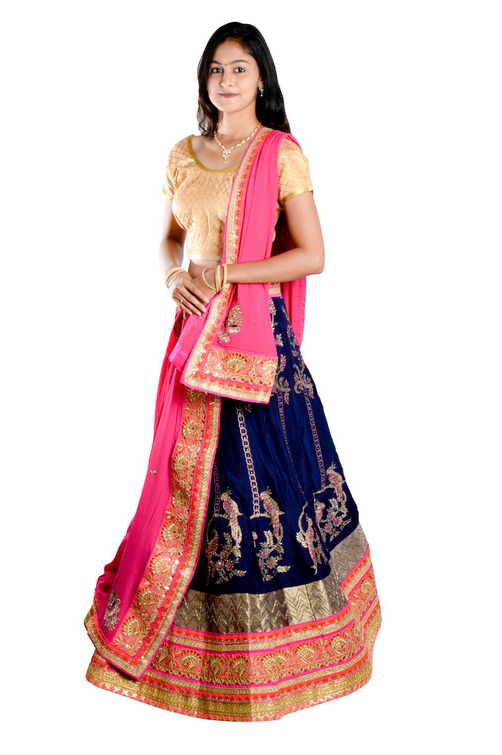 Indians Boutique Designer Semi-Stitched Silk Lehenga,Choli and Dupatta Set With Blouse Piece  (Blue)