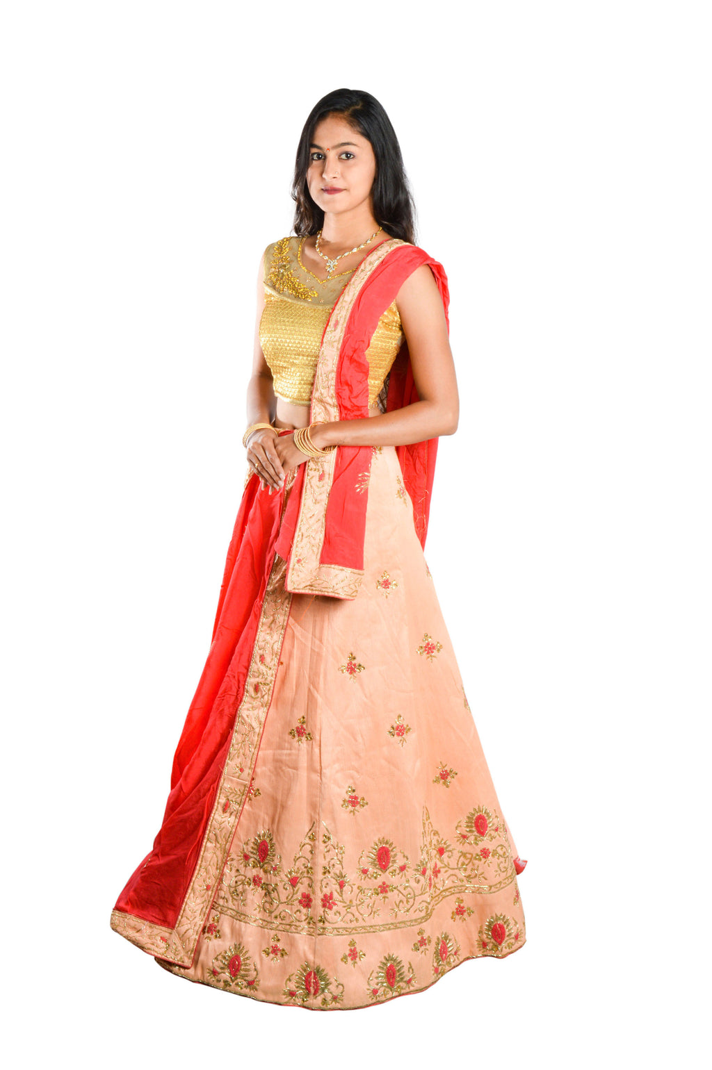 Indians Boutique Designer Semi-Stitched Silk Lehenga,Choli and Dupatta Set With Blouse Piece  (Peach)