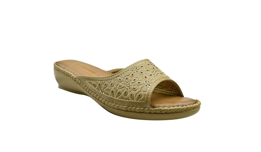 Indian Trednz Square Women's Fashion Slippers (Beige)