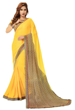 JBP Baghban Vol-1 Printed Synthetic Saree With Blouse Piece (Yellow) Indians Boutique