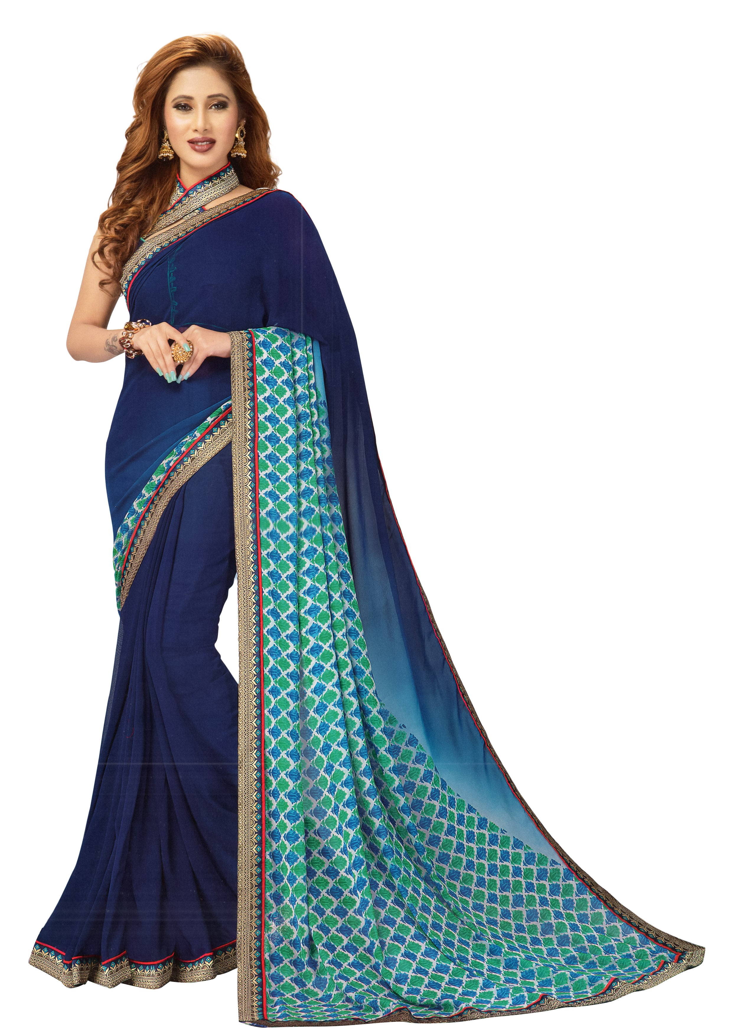 JBP Baghban Vol-1 Printed Synthetic Saree With Blouse Piece (Navy Blue) Indians Boutique
