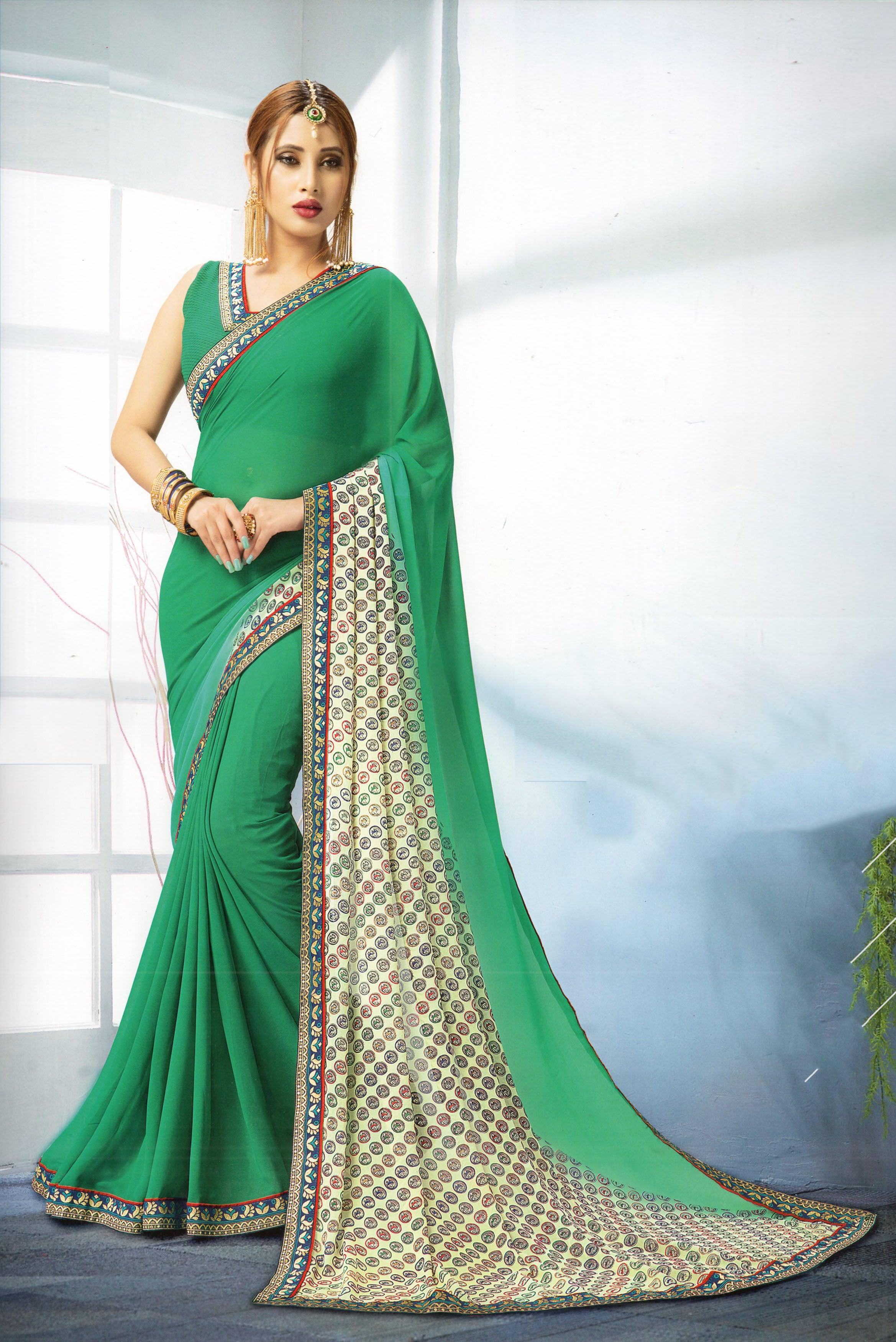 JBP Baghban Vol-1 Printed Synthetic Saree With Blouse Piece  (Ramagreen) Indians Boutique