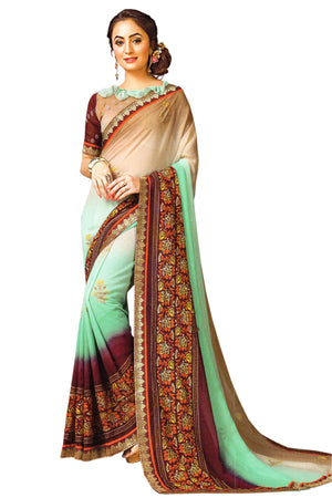 JBP Chitra  Printed Synthetic Saree With Blouse Piece (Aqua) Indians Boutique