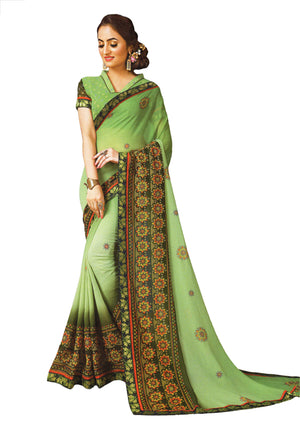JBP Chitra  Printed Synthetic Saree With Blouse Piece (Parror Green) Indians Boutique