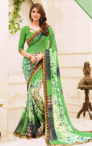 JBP Sakshi  Printed Synthetic Saree With Blouse Piece (Green) Indians Boutique