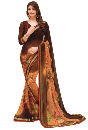 JBP Sakshi  Printed Synthetic Saree With Blouse Piece (Brown) Indians Boutique