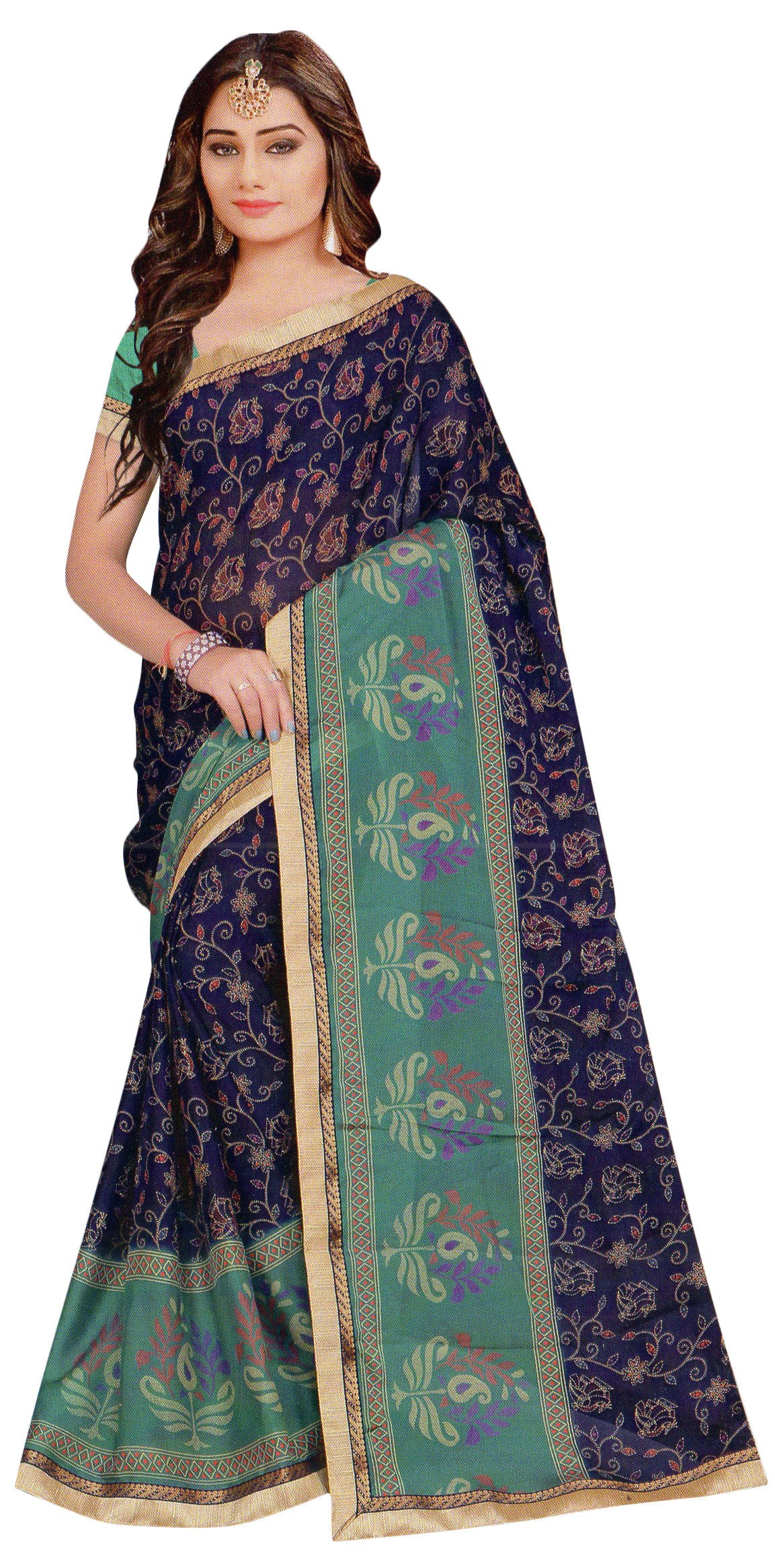 Jyothi-2 Printed Synthetic Saree With Blouse Piece Saree (Green) By Indians Boutique