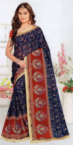 Jyothi-2 Printed Synthetic Saree With Blouse Piece Saree (Maroon) By Indians Boutique