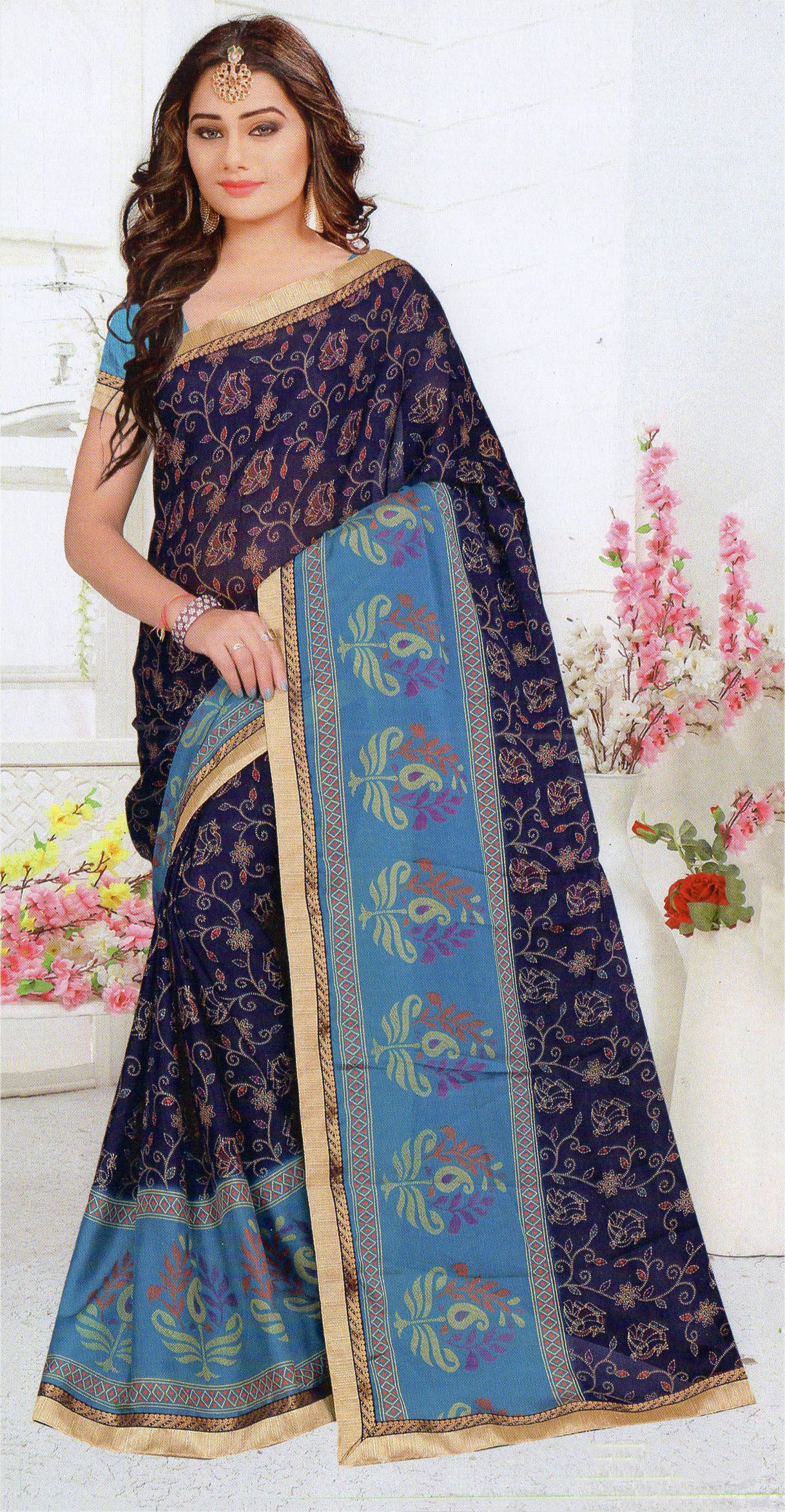 Jyothi-2 Printed Synthetic Saree With Blouse Piece Saree (Blue) By Indians Boutique