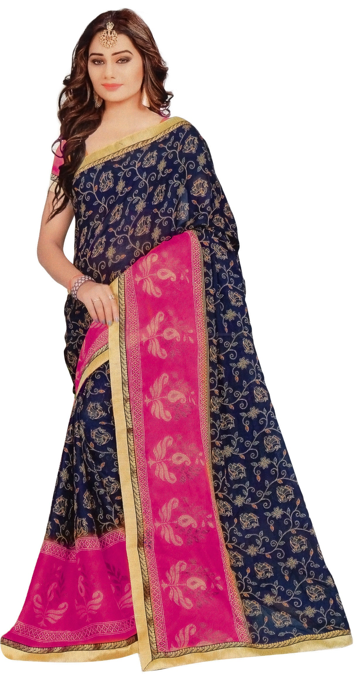 Jyothi-2 Printed Synthetic Saree With Blouse Piece Saree (Pink) By Indians Boutique