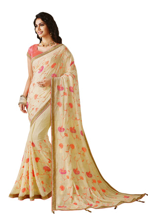 Laxmipati Cham Cham Embroidered  Chiffon  Saree With Blouse Piece  (Offhwhite) By Indians Boutique