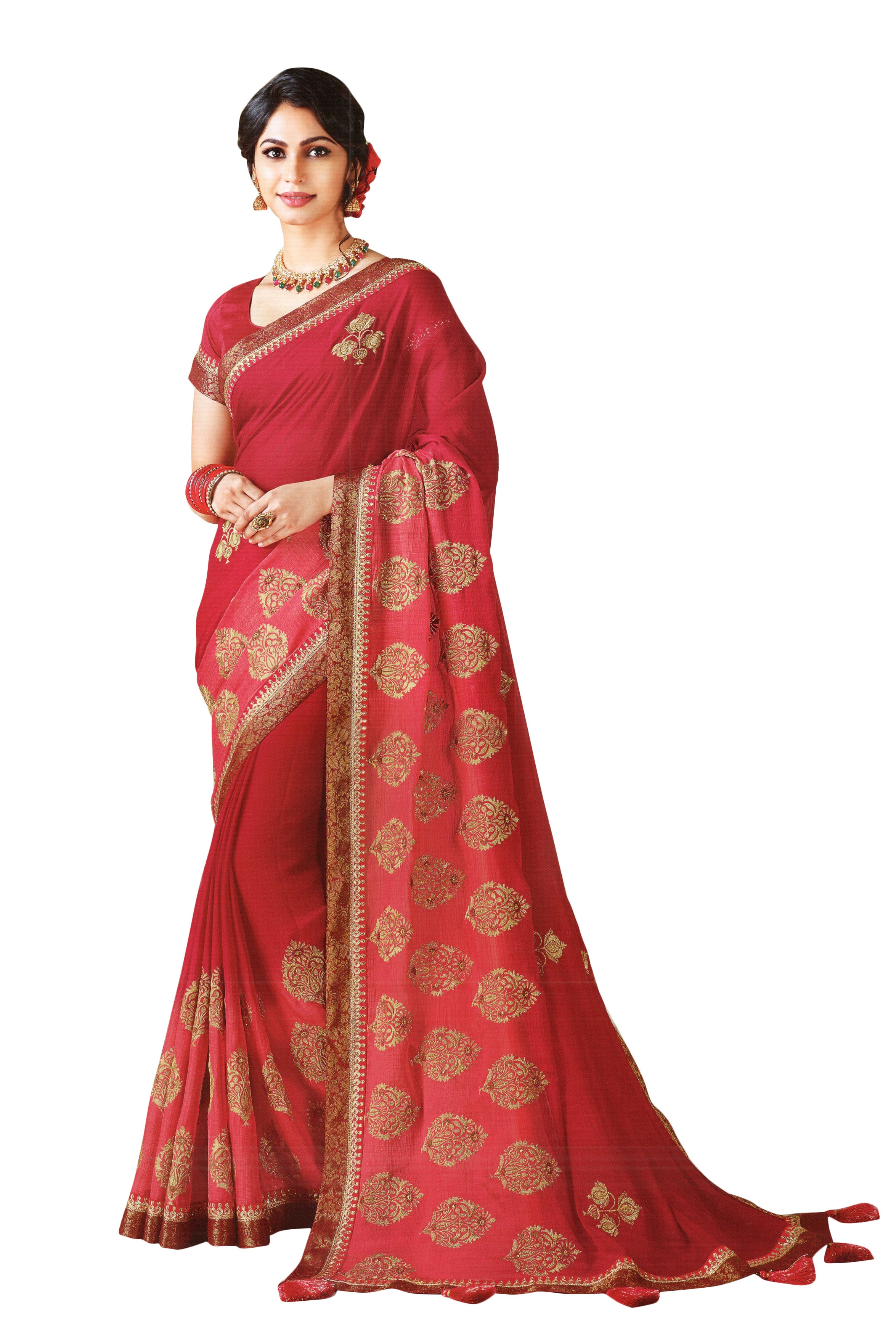 Laxmipati Cham Cham Embroidered  Chiffon  Saree With Blouse Piece  (Maroon) By Indians Boutique