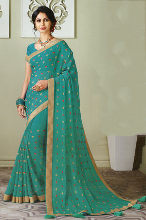 Laxmipati Cham Cham Embroidered  Chiffon  Saree With Blouse Piece  (Aqua) By Indians Boutique