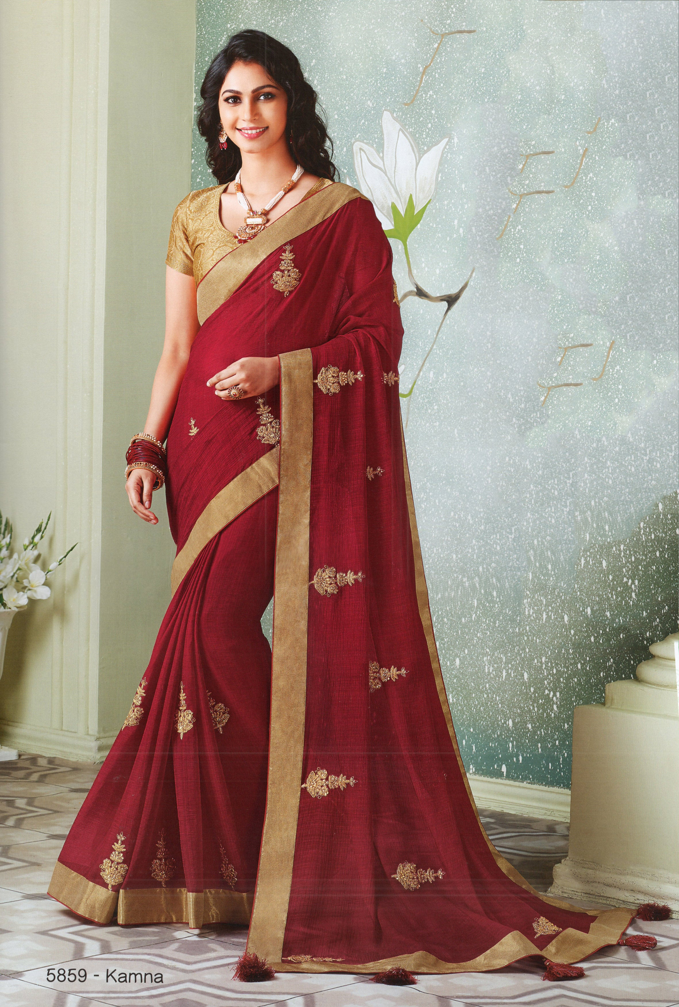 Laxmipati Cham Cham Embroidered  Chiffon  Saree With Blouse Piece  (Wine) By Indians Boutique