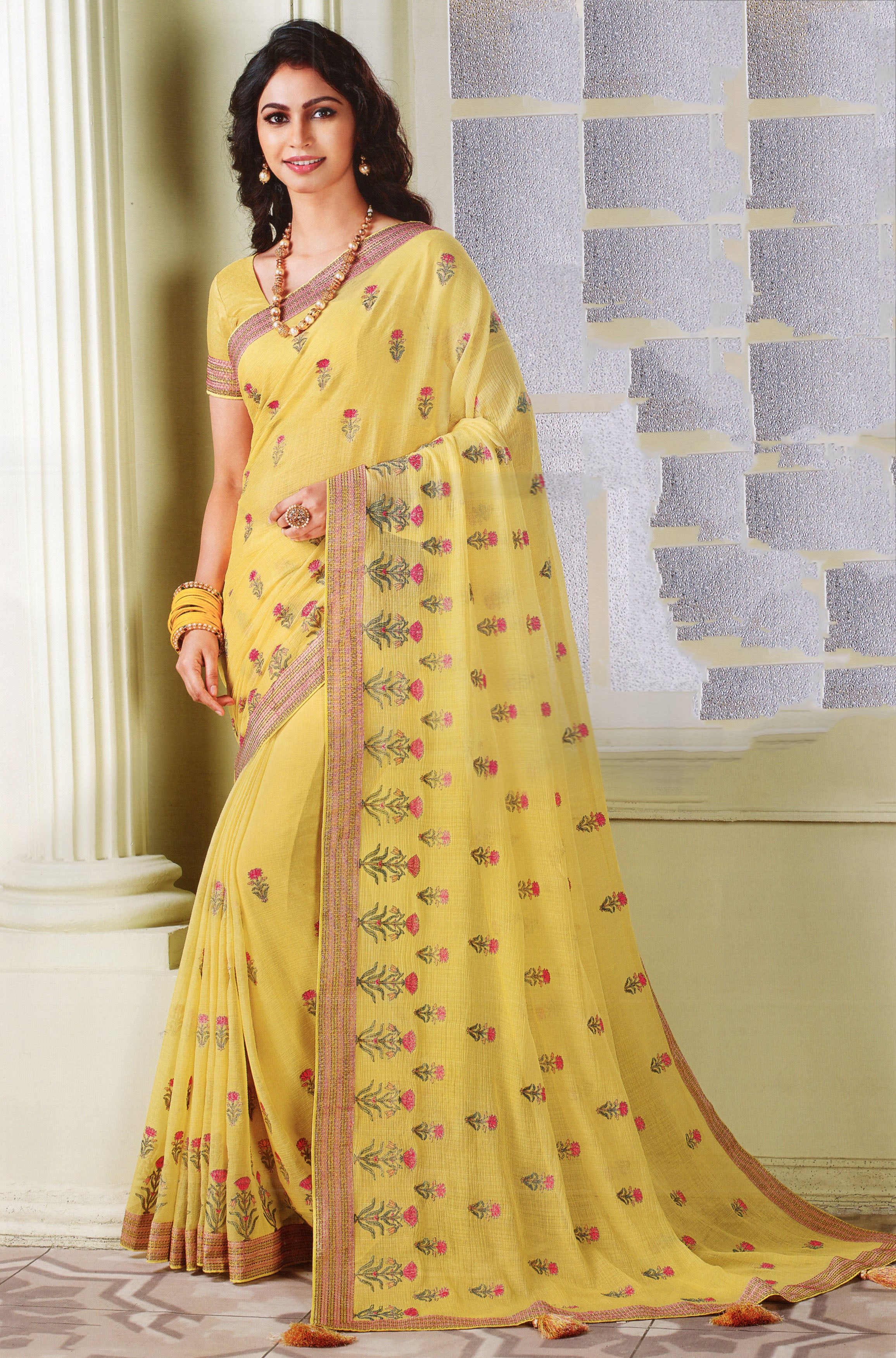 Laxmipati Cham Cham Embroidered  Chiffon  Saree With Blouse Piece  (Yellow) By Indians Boutique
