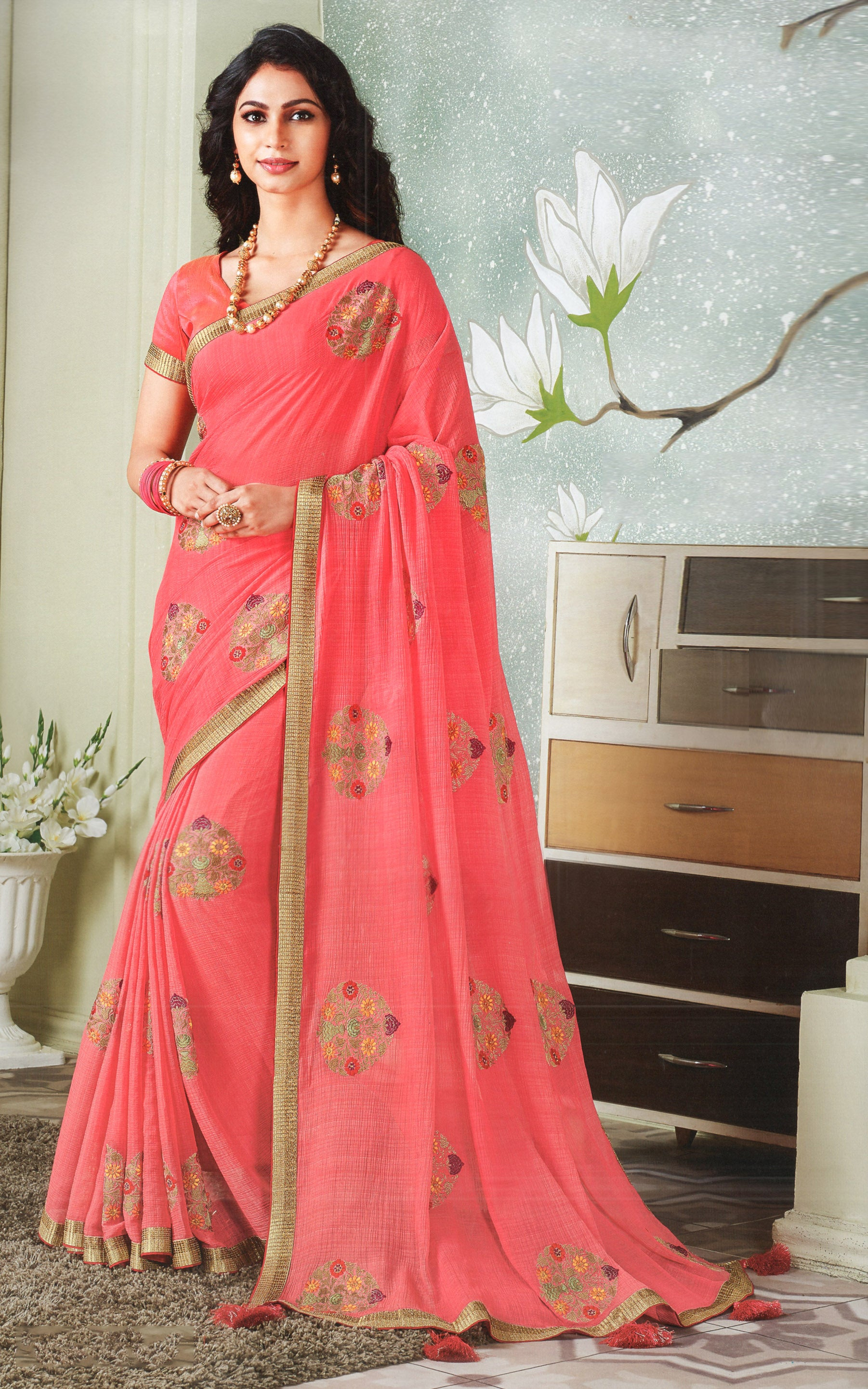 Laxmipati Cham Cham Embroidered  Chiffon  Saree With Blouse Piece  (Pink) By Indians Boutique