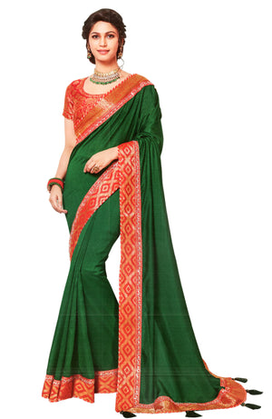 Laxmipati Cham Cham Embroidered  Silk  Saree With Blouse Piece  (Green) By Indians Boutique