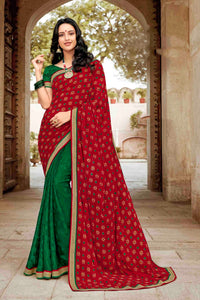 Laxmipati Dhanak Printed Chiffon  Saree (Maroon) By Indians Boutique