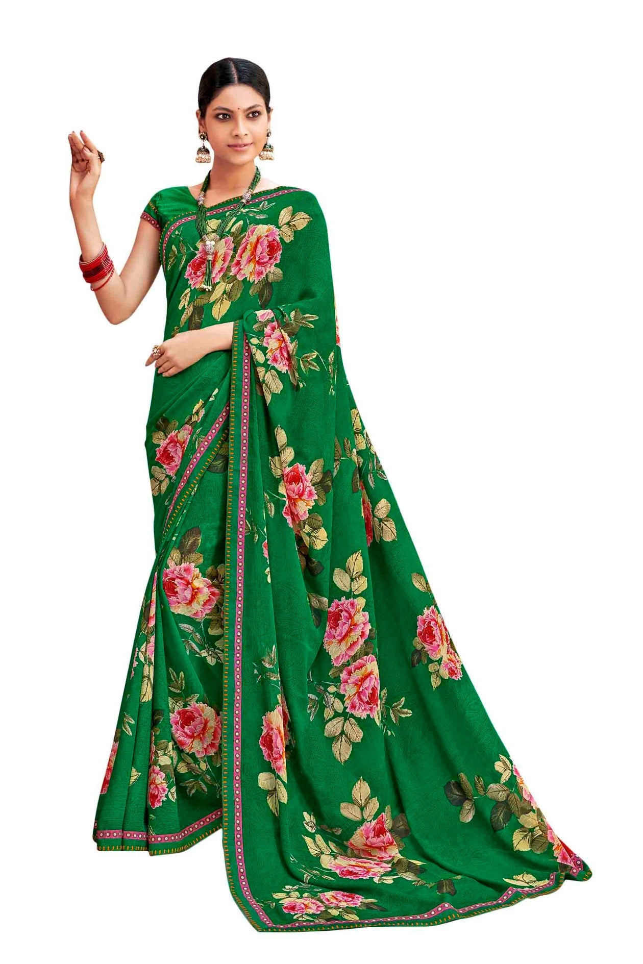 Laxmipati Dhanak Printed Georgette  Saree (Green) By Indians Boutique