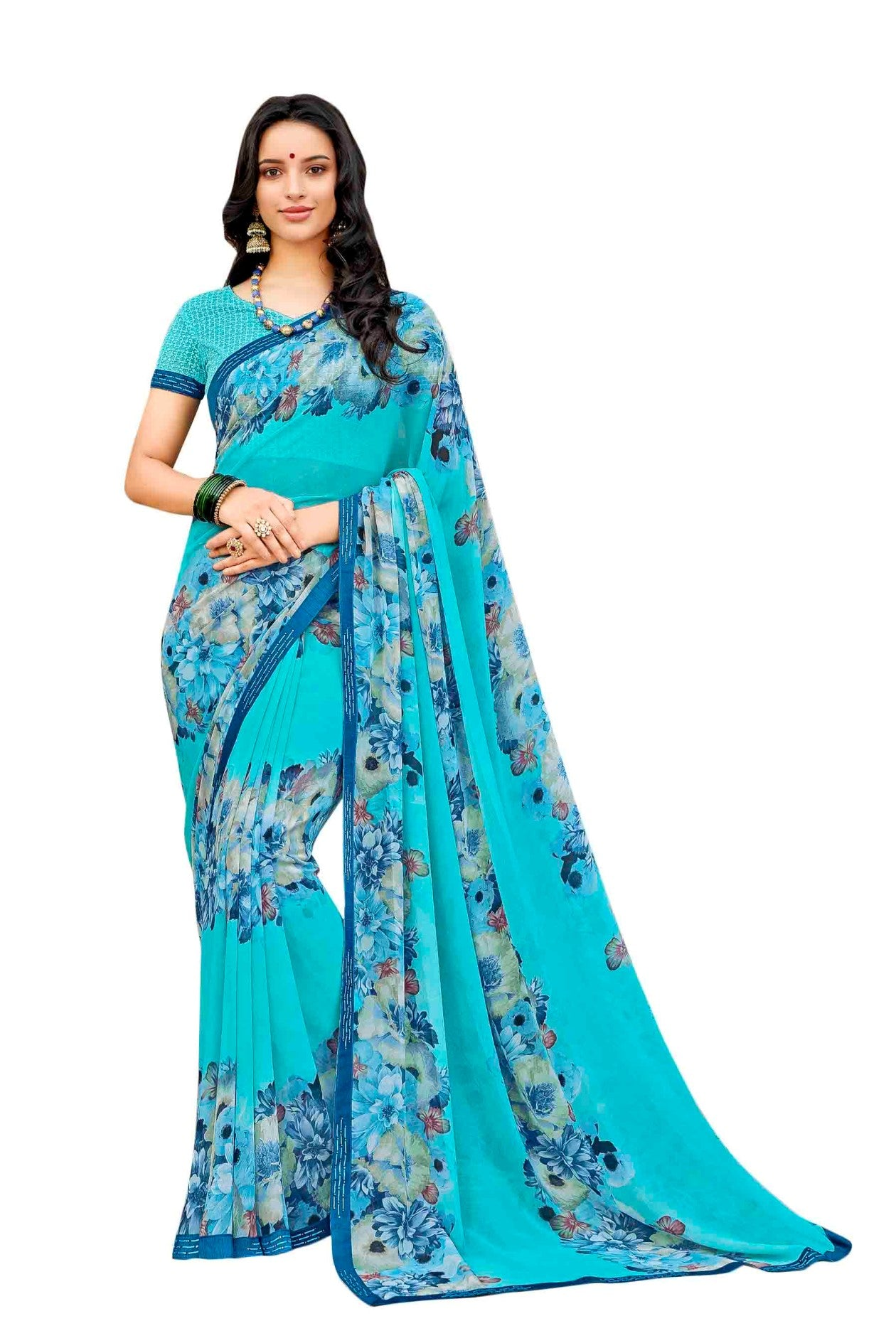 Laxmipati Dhanak Printed Georgette  Saree (Aqua) By Indians Boutique