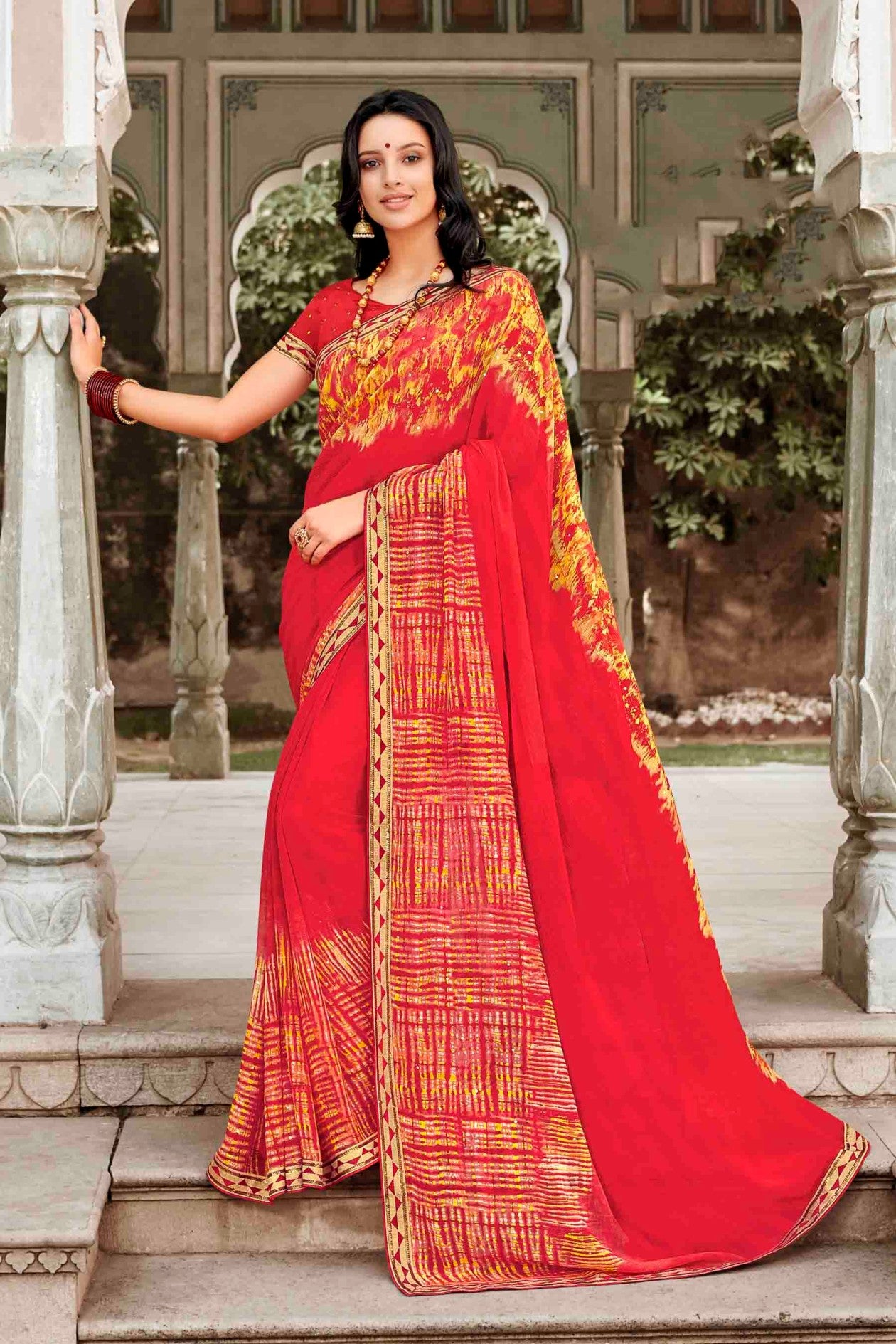 Laxmipati Dhanak Printed Chiffon  Saree (Orange) By Indians Boutique