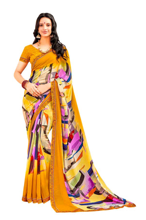 Laxmipati Dhanak Printed Georgette  Saree (Mustard) By Indians Boutique
