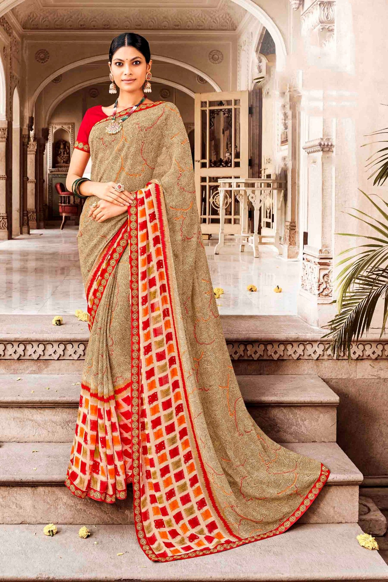 Laxmipati Dhanak Printed Georgette  Saree (Beige) By Indians Boutique