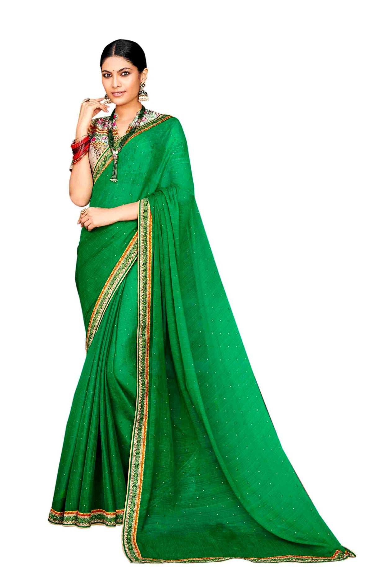 Laxmipati Dhanak Printed Chiffon  Saree (Green) By Indians Boutique