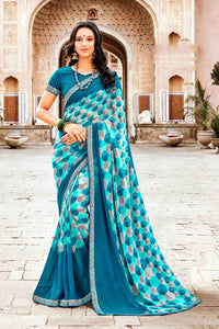 Laxmipati Dhanak Printed Georgette  Saree (Blue) By Indians Boutique