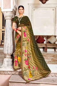 Laxmipati Dhanak Printed Georgette  Saree (Brown) By Indians Boutique