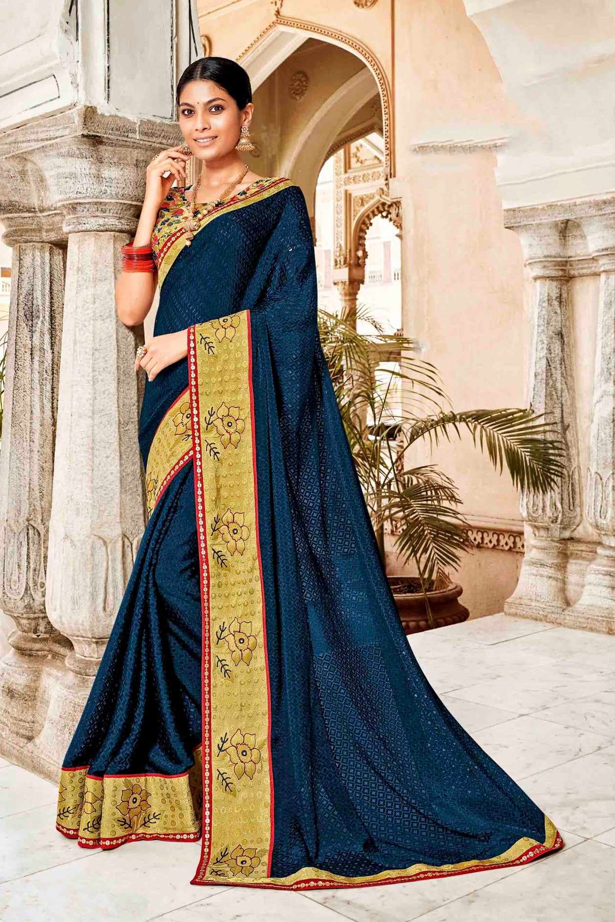 Laxmipati Dhanak Printed Chiffon  Saree (Navy Blue) By Indians Boutique