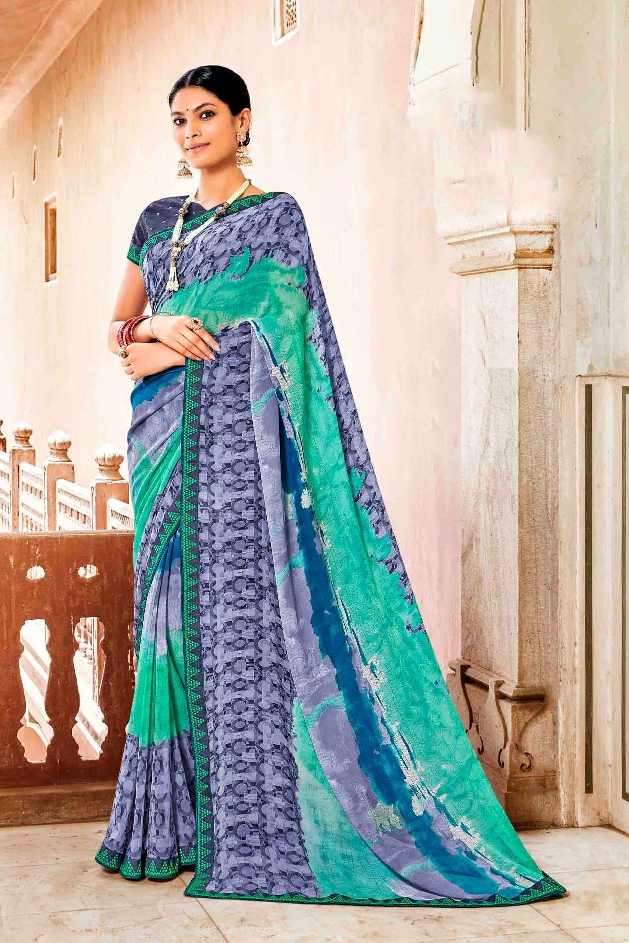 Laxmipati Dhanak Printed Georgette  Saree (Multicolor) By Indians Boutique