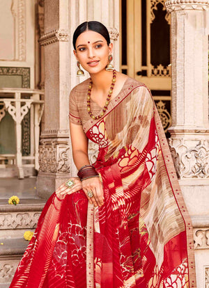 Laxmipati Dhanak Printed Georgette  Saree (Red) By Indians Boutique