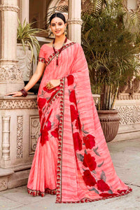 Laxmipati Dhanak Printed Georgette  Saree (Pink) By Indians Boutique
