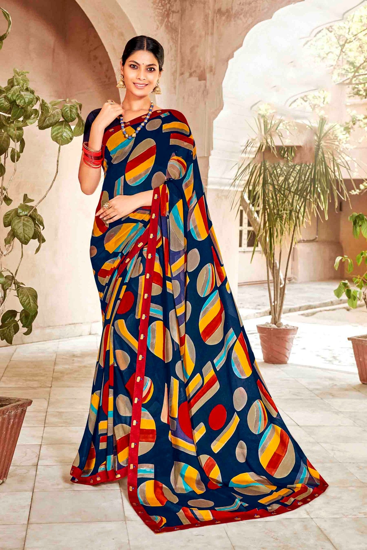 Laxmipati Dhanak Printed Georgette  Saree (Navy Blue) By Indians Boutique