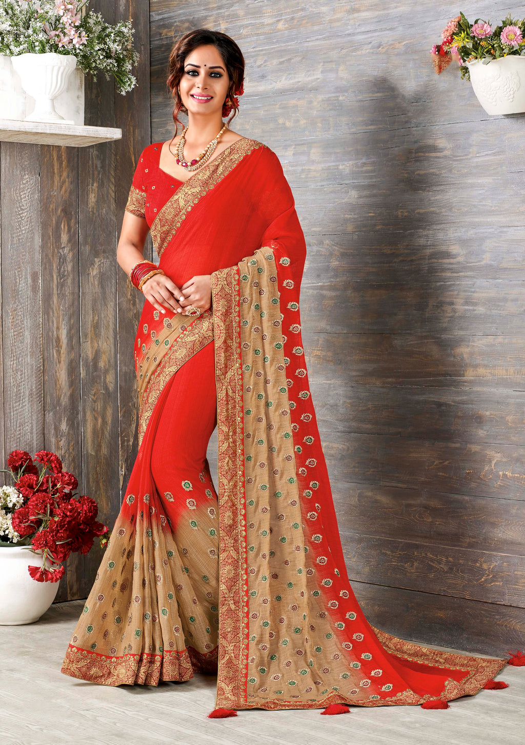 Laxmipati Dilruba  Embroidered  Chiffon Saree With Blouse Piece (Red) By Indians Boutique
