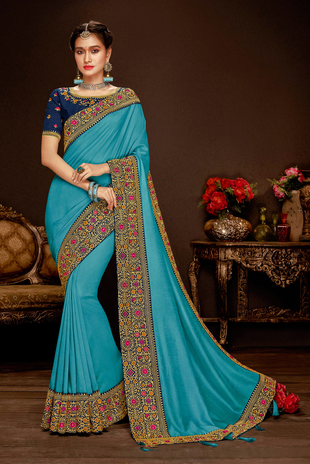 Laxmipati Jagnoori 2 Embroidery Border Work Silk Saree With Blouse Piece (S-827,Cyan) By Indians Boutique