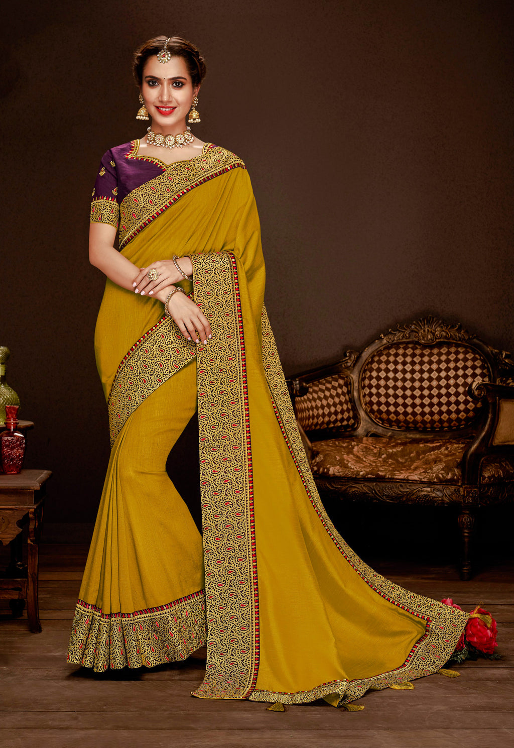 Laxmipati Jagnoori 2 Embroidery Border Work Silk Saree With Blouse Piece (S-831,Gold) By Indians Boutique