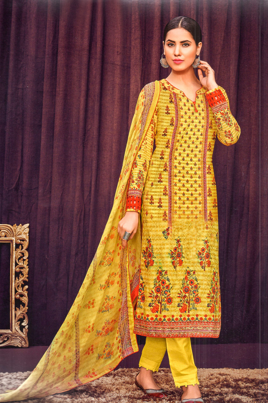 Mumtaz Arts Bunaai Printed Dress Material (Yellow)By Indians Boutique