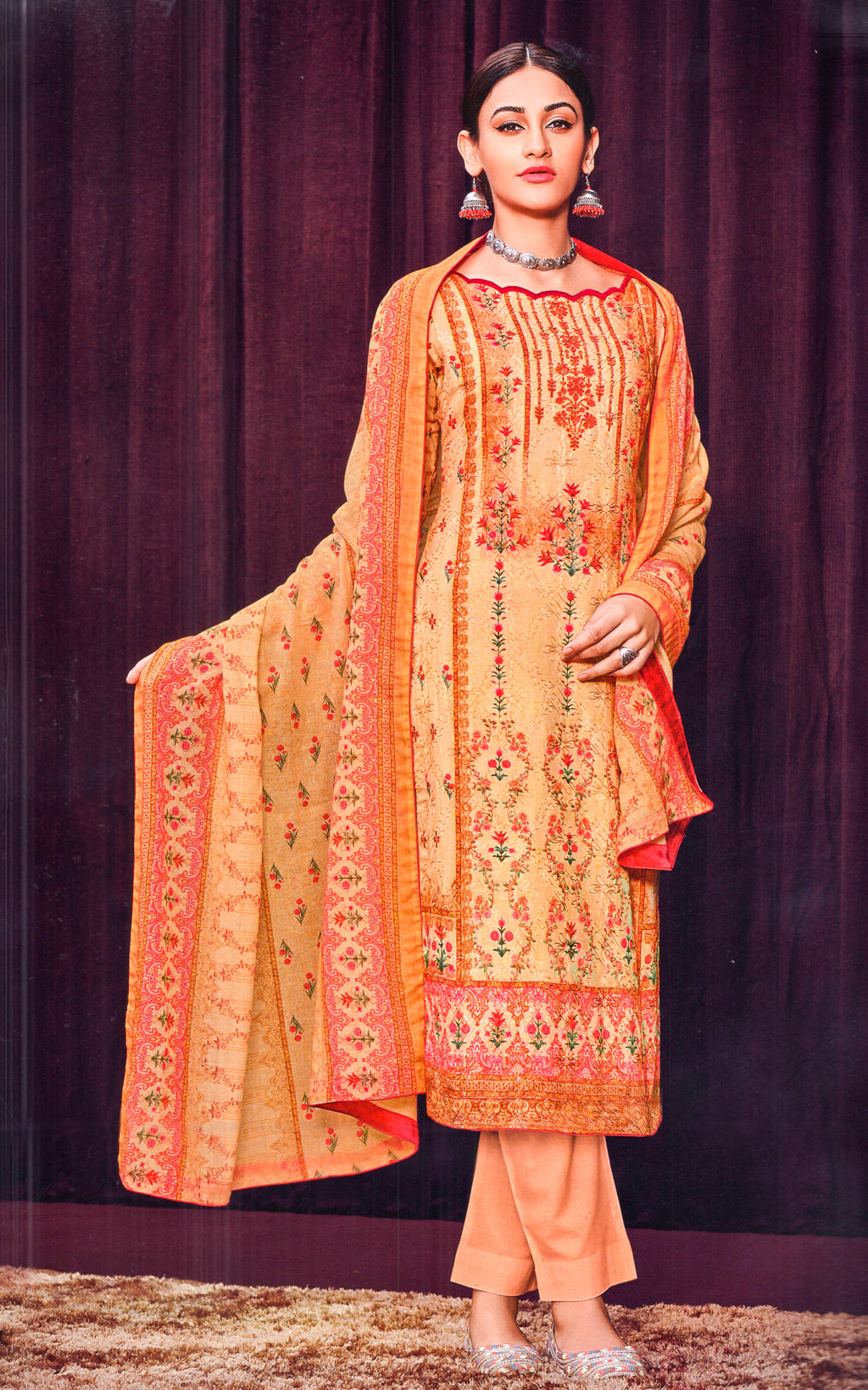 Mumtaz Arts Bunaai Printed Dress Material (Light Peach)By Indians Boutique