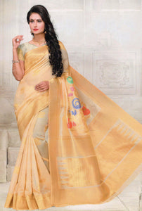Nayonika Devsena Printed Cotton Silk Saree With Blouse Piece Saree With Blouse Piece Saree (Golden) By Indians Boutique